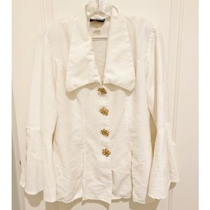 VTG White Pleated Blouse w/ Gold Floral Burtons